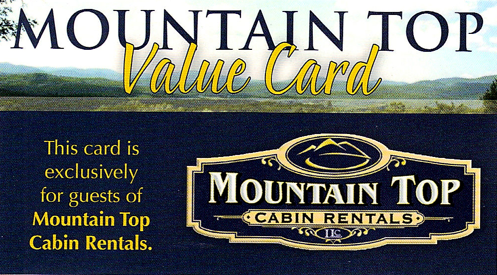 Cabin Rental Discount Card